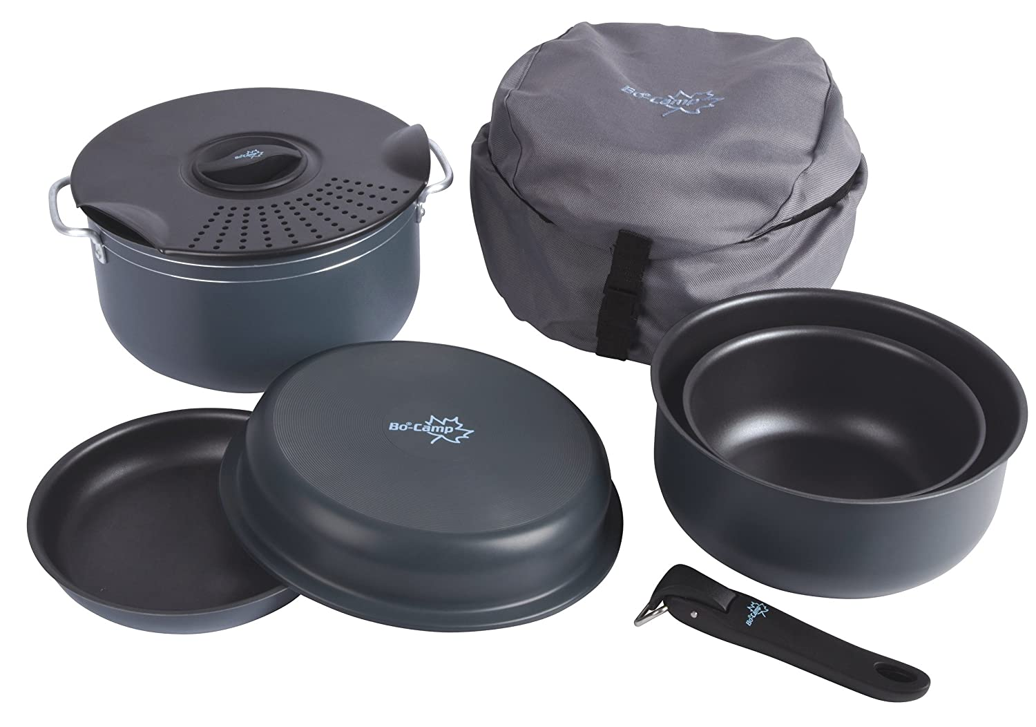 Bo-Camp Camping Cookware Set 7 Pieces Black 1.1/2.5/4.4 l 2300350
