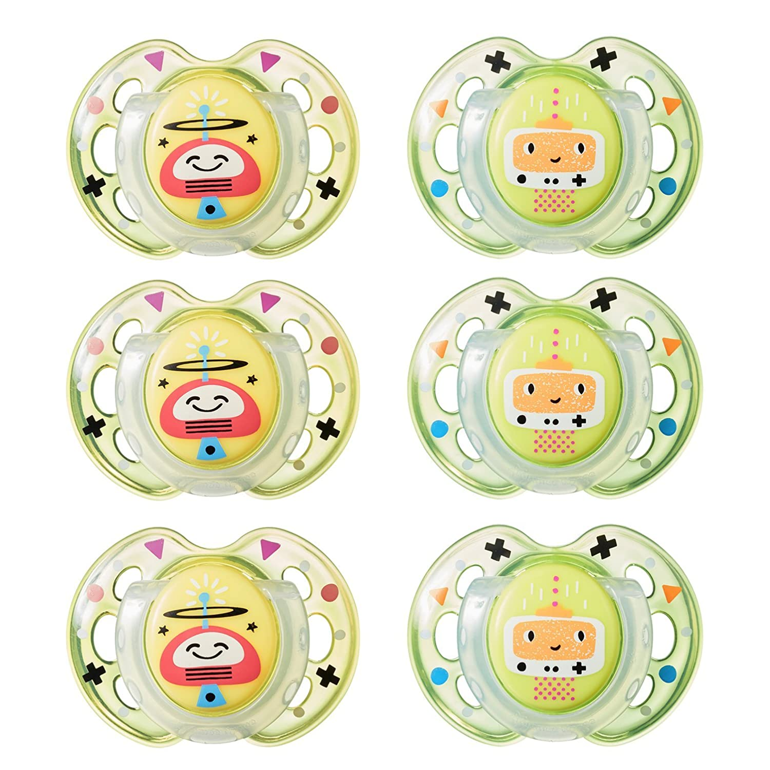 Tommee Tippee Closer to Nature Fun Style Orthodontic Baby Soothie Pacifier, 0-6 Months - Unisex, 6 Pack