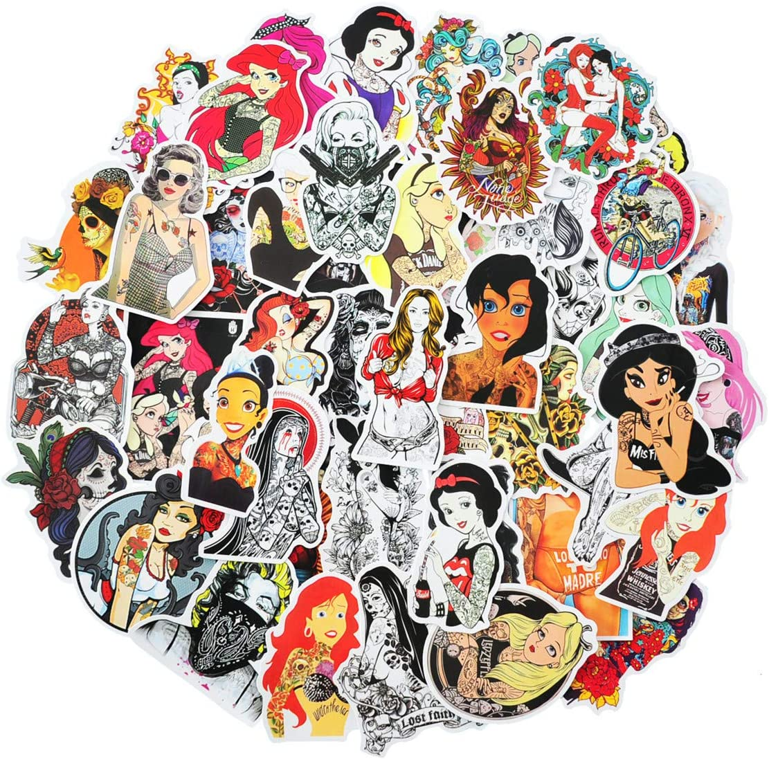 Sexy Stickers Realistic Masked Gangster Adults Tattoos Women Cartoon Princess Beauty Sticker Lady Decals Punk Vintage Retro Stickers for Laptop Luggage Skateboard Car Bumpers (Sexy Tattoos)