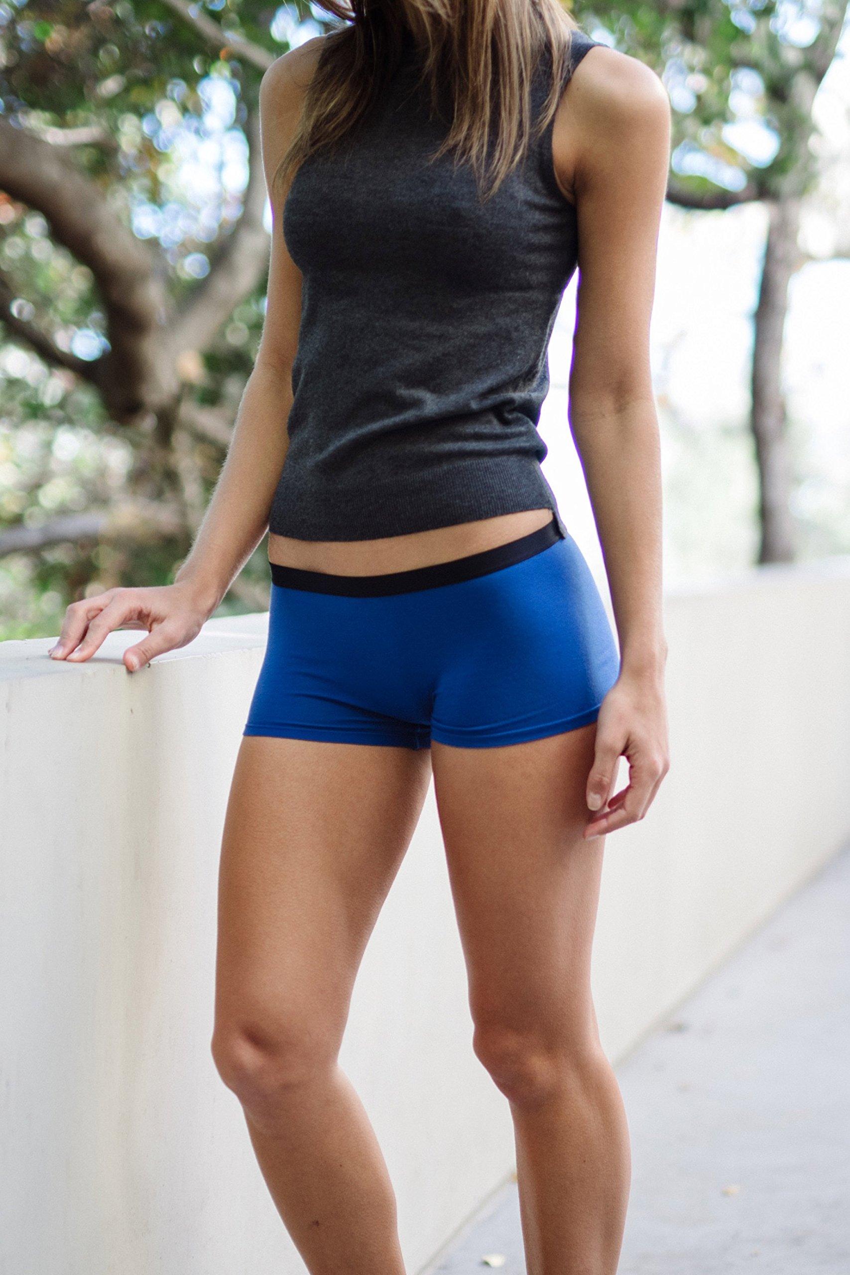 2af49c58965 COMFORTABLE CLUB Women s Modal Microfiber Boyshorts Panties Underwear  2-Pack (Jet Black