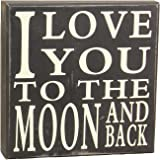 Young's Love You to The Moon Wood Block Sign, 8-Inch