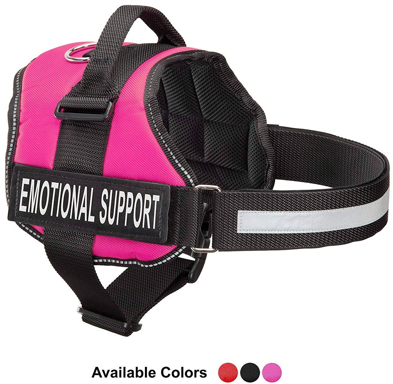 Hot Pink XS, Fits Girth 18-22.5\ Hot Pink XS, Fits Girth 18-22.5\ Emotional Support Dog Harness with Reflective Straps, Interchangeable Patches, Top Mount Handle   7 Adjustable Sizes   Heavy Duty Construction