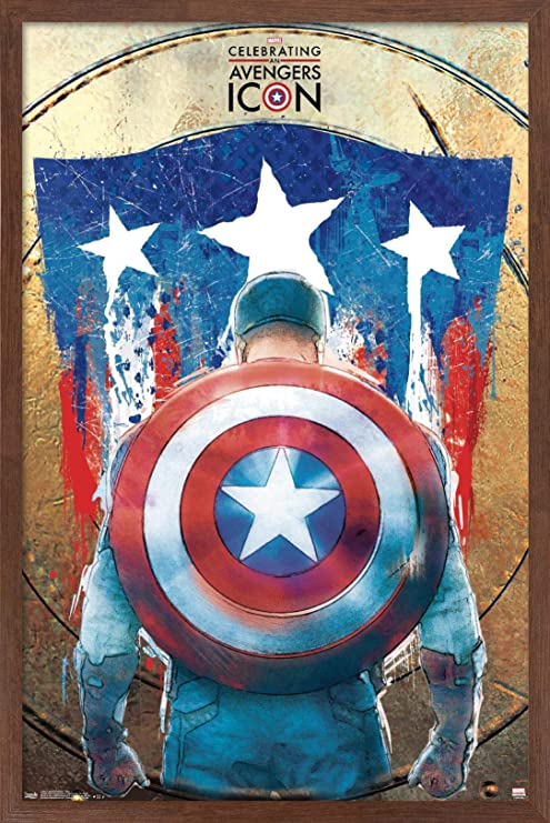 Amazon Com Trends International Marvel Comics Captain America 75th Wall Poster 14 725 X 22 375 Mahogany Framed Version Posters Prints