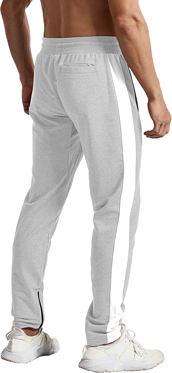 TBMPOY Mens Running Pants Athletic Sweatpants with Zipper Pockets