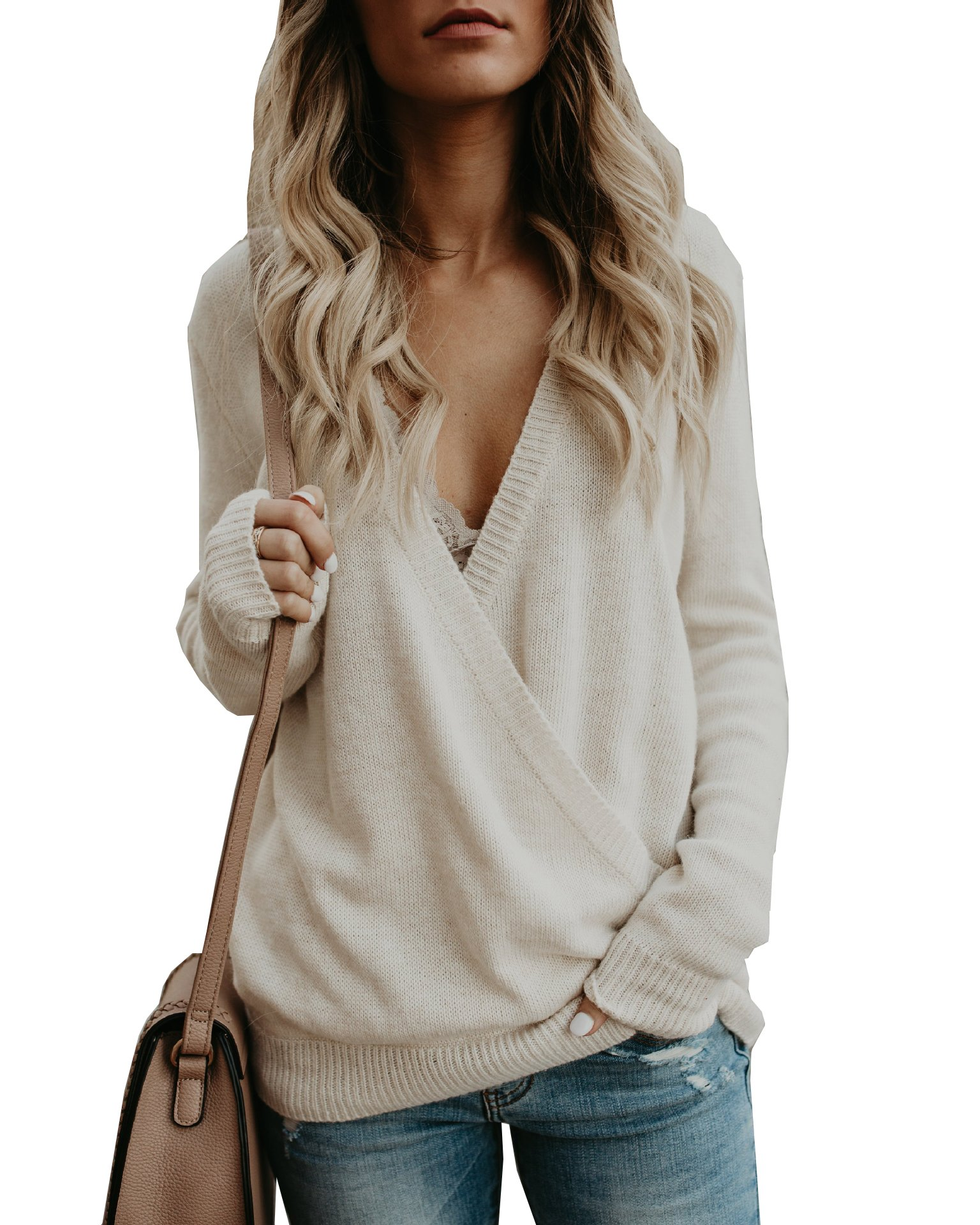 PRETTYGARDEN Women's Knitted Deep V-Neck Long Sleeve Wrap Front Loose Sweater Pullover Jumper (Beige, Medium)