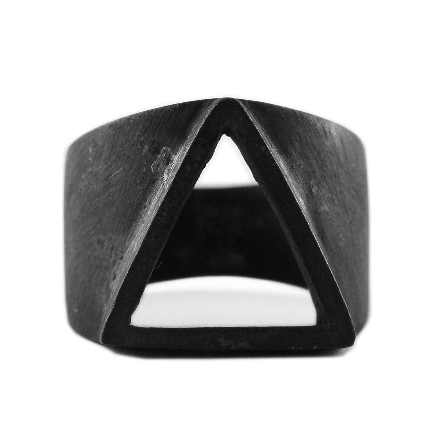 91433968f37fc Amazon.com  Triangle Ring Black Ring Triangle Rings Geometric Ring Triangle  Black Rings Black Triangle Ring Mens Ring Man Ring Mens Jewelry Mens Black  Ring ...