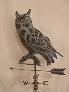 product image for Furniture Barn USA Large Handcrafted 3D 3- Dimensional OWL Weathervane Copper Patina Finish