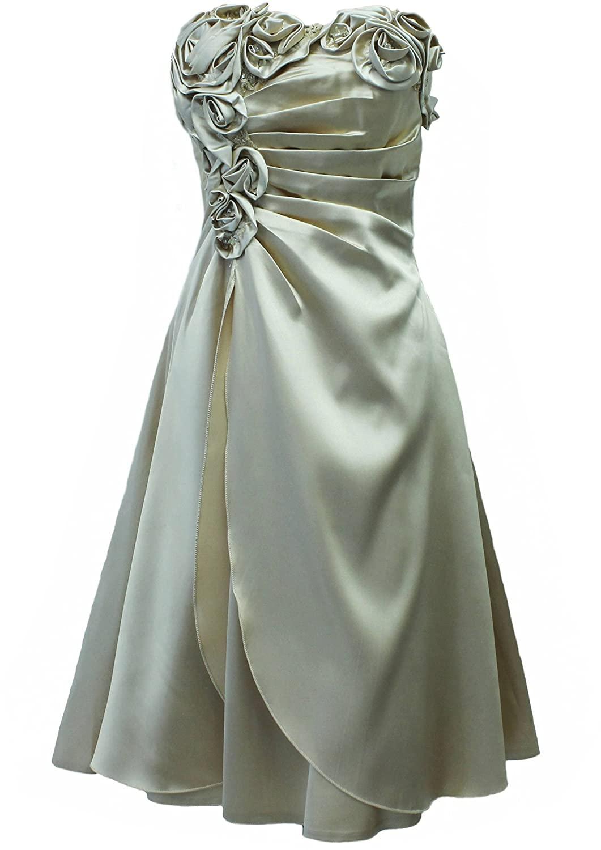 JuJu & Christine Kurzes Satin Kleid, Abendkleid, Ballkleid, Cocktailkleid (A2505) Gold Gr. 38