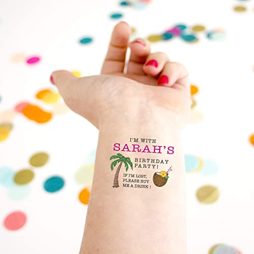 Amazon.com: Personalized Tropical Birthday Party Temporary Tattoos ...