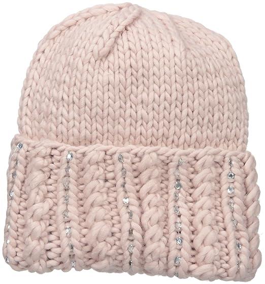 f71b9d644ab San Diego Hat Company Women s Chunky Yarnb Beanie with Hand Stitched Gems  On Cuff