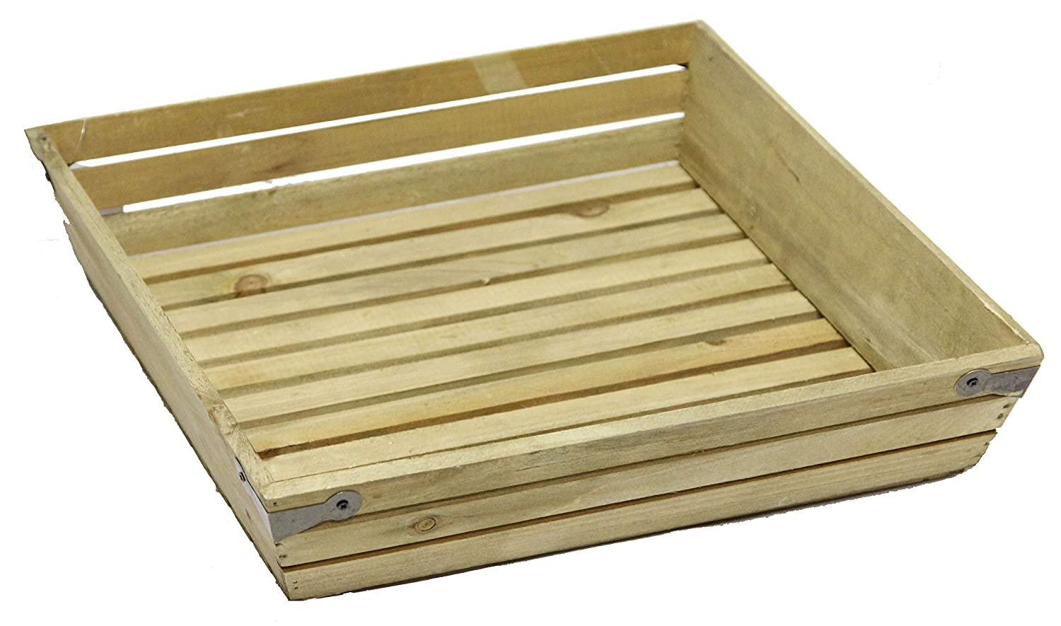 13.5x13.5\ Admired By Nature ABN5E020-NTRL Natural Wood Large Shallow Square Crate with Metal Corner Design, 13.5x13.5