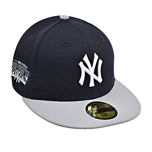 New Era New York Yankees 59Fifty Men s Fitted Hat Cap Navy Blue Grey White bfadaf0f4730