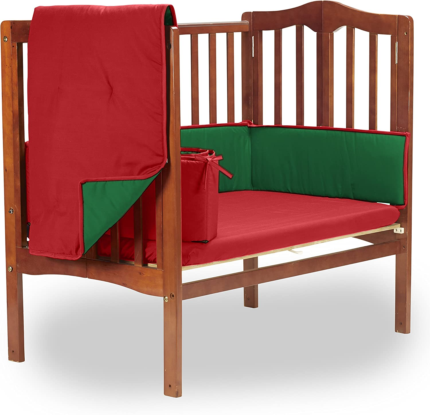 Baby Doll Bedding Solid Reversible PMini Crib/ ort-a-Crib Bedding Set, Red/Green by BabyDoll Bedding