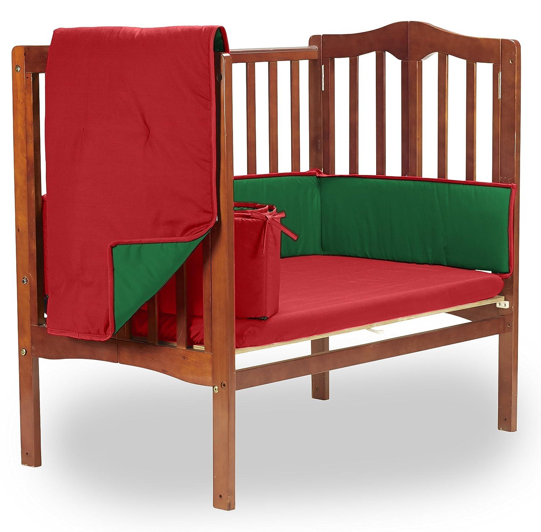 Baby Doll Bedding Solid Reversible PMini Crib/ ort-a-Crib Bedding Set, Red/Green by BabyDoll Bedding   B00GBB756O