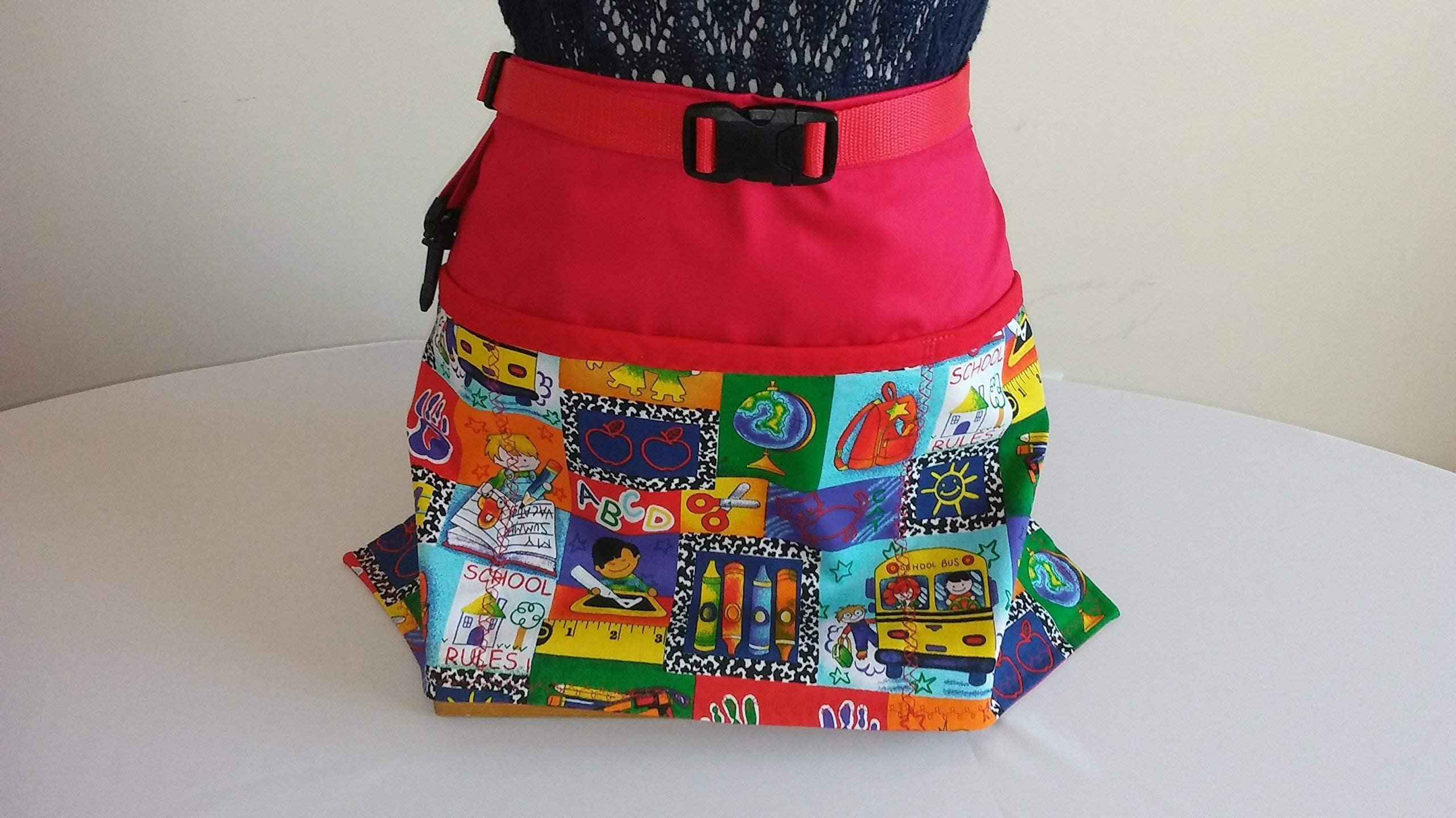 ADJUSTABLE NO TIE APRON - School Pattern / 3 Lined Pockets Waist Apron with attached key holder for keys and badge/One size fits most/The Perfect Teacher's Gift/Day Care