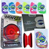 Henry's Lizard YoYo Red with Tricks Book & Gator String Bundle - 3 Items (Mixed String (1 of each colour))