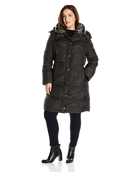 216e01ce7 London Fog Women's Plus-Size Mid-Length Faux-Fur Collar Down Coat with Hood