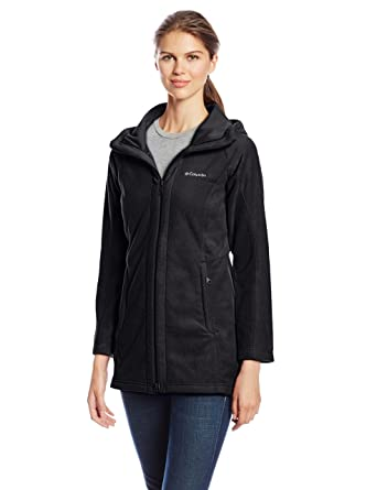 8W6F Columbia Benton Springs Ii Long Hooded Fleece Jacket Womens Charcoal Heather Excellent