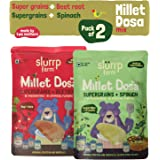 Slurrp Farm Millet Dosa Instant Mix | Supergrains, Spinach and Beetroot | Natural and Healthy food 150 g (Pack of 2)