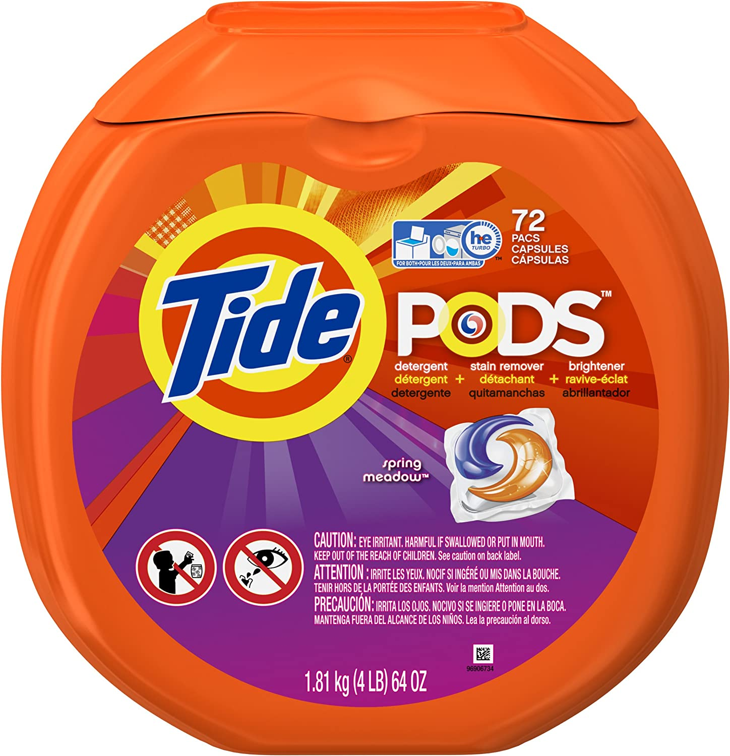 Tide 50978 Spring Meadow Scent Laundry Detergent Pods 72 Count