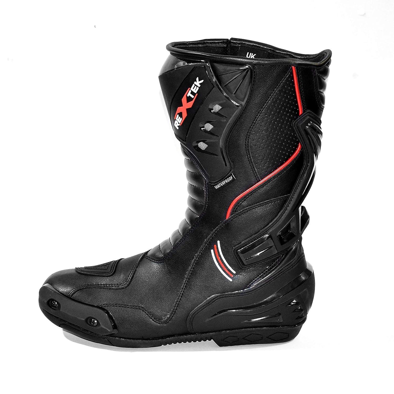 UK 12 // EU 45 Motorrad gepanzerter Lederstiefel Touring Racing Sportschuhe f/ür jedes Wetter mit Rutschfester Gummisohle Blau /& Schwarz Motorradstiefel Herren