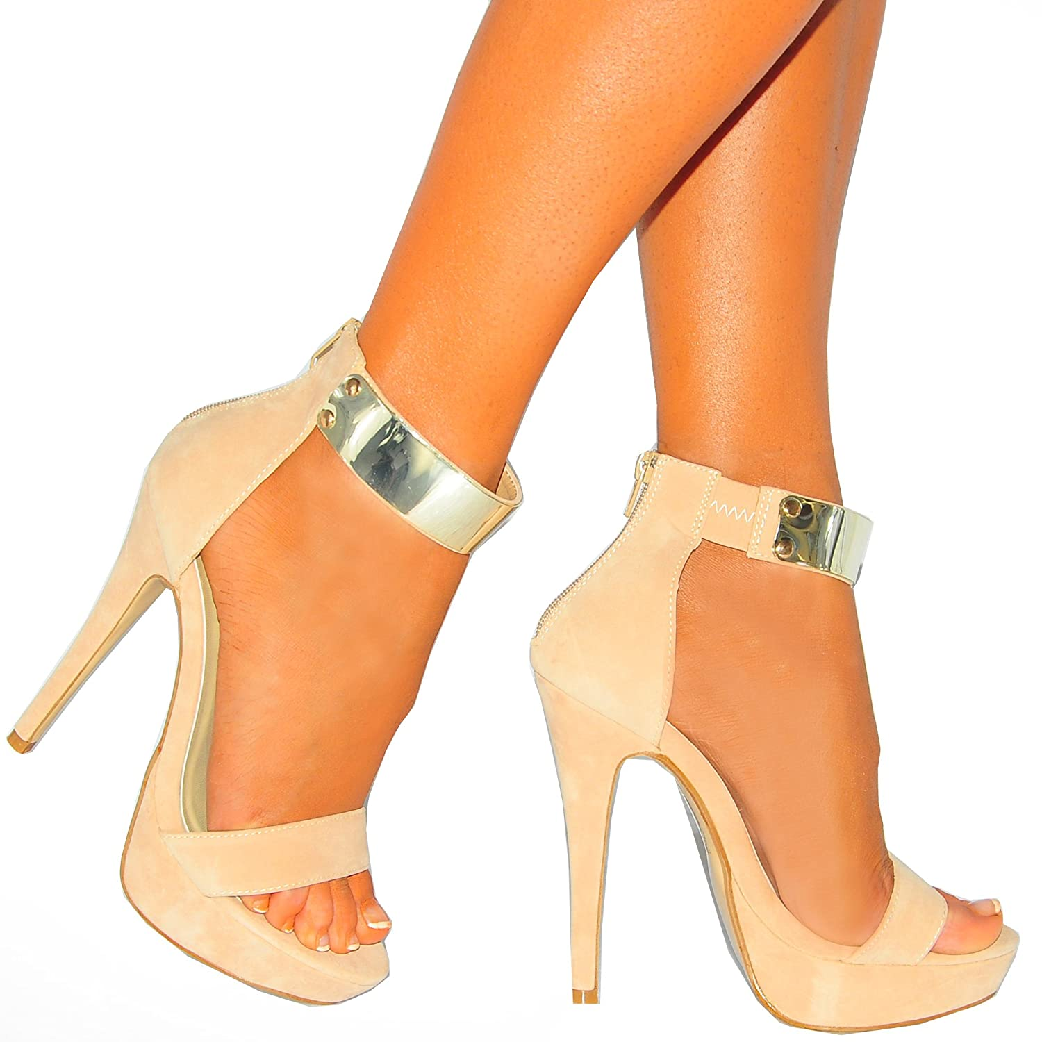 70dd3a48c42 Ladies Women s Nude Gold Metal Ankle Cuff Strap Peep Toes Stiletto High  Heels Shoes 3-8 (UK8 EURO41)  Amazon.co.uk  Shoes   Bags