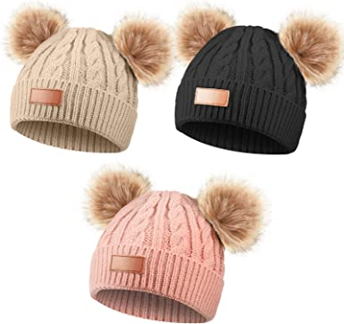 for 1-3 Years Old 3 Pieces Kids Knitted Hat Solid Color Winter Warm Twist Knit Hat Double Pom Beanie Cap for Girls Boys