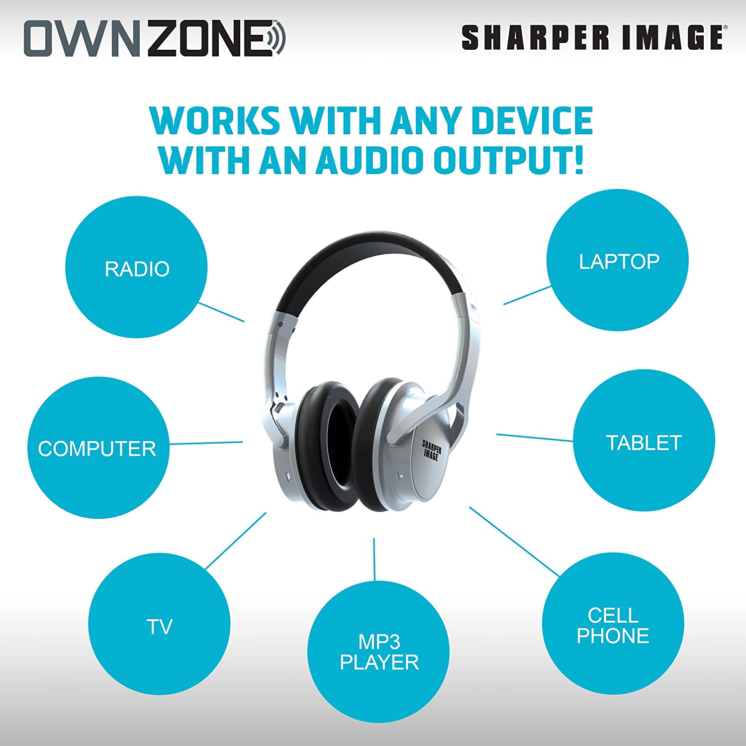 Amazon.com: Sharper Image OWN ZONE Wireless Rechargeable TV ...