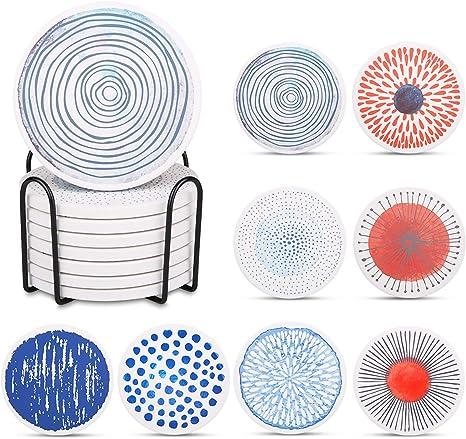Liesun Coaster 8er Set Mit Halter Keramik Untersetzer Mit Korkbasis Untersetzer Premium Design Untersetzer Absorbierenden Saugfähige Untersetzer Coasters For Drinks Küche Haushalt