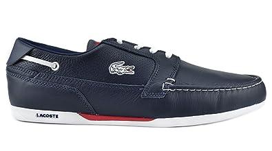 c4ebe288c190 Lacoste Dreyfus SPM Leather Men s Boat Shoes Blue White Blue White  7-20spm8121121