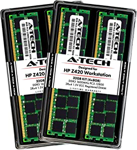 A-Tech 32GB ECC Registered Memory Kit for HP Z420 Workstation (4 x 8GB) ECC RDIMM DDR3 PC3-12800 1600MHz 240-Pin DIMM 2Rx4 1.5V Dual Rank RAM Upgrade