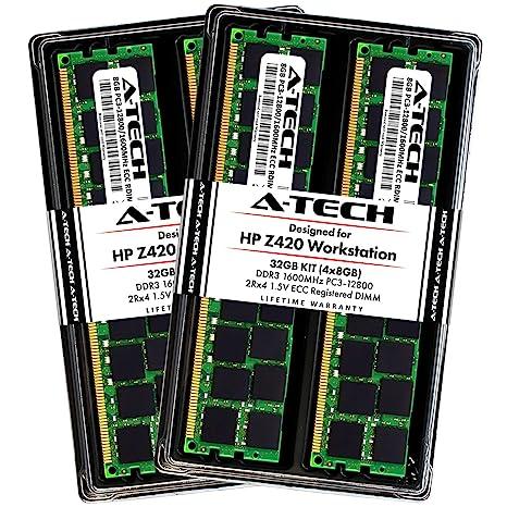 A-Tech 32GB ECC Registered Memory Kit for HP Z420 Workstation (4 x 8GB) ECC  RDIMM DDR3 PC3-12800 1600MHz 240-Pin DIMM 2Rx4 1 5V Dual Rank RAM Upgrade