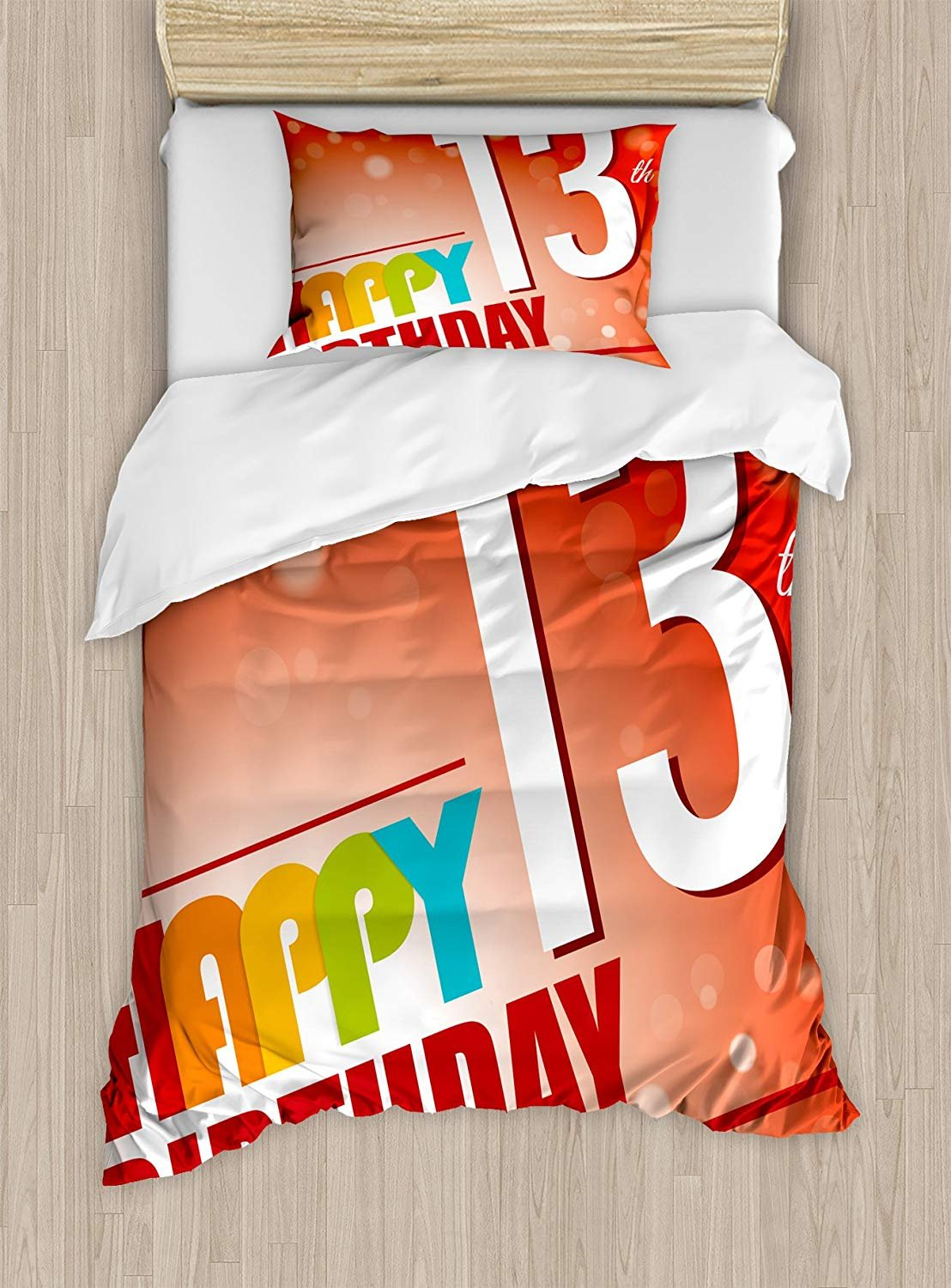 Twin XL Extra Long Bedding Set,13th Birthday Duvet Cover Set,Retro Style Teenage Party Invitation Graphic Design with Bokeh Effect Rays,Cosy House Collection 4 Piece Bedding Sets