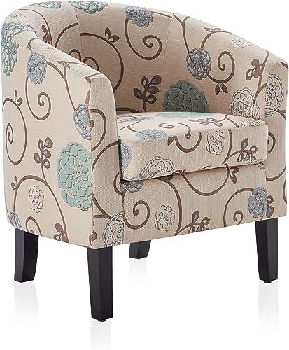 Reviewed: BELLEZE Upholstered Barrel Chair Tub Club Armrest Linen Living Room