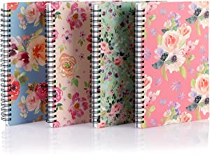 """Spiral Lined Notebook, EUSOAR A5 4pcs 5.7x8.2"""" Lined Travel Writing Notebooks Journal, Memo Notepad Sketchbook, Office Business Diary Ruled Spiral Book Journal-4 Flowers Patterns Covers"""