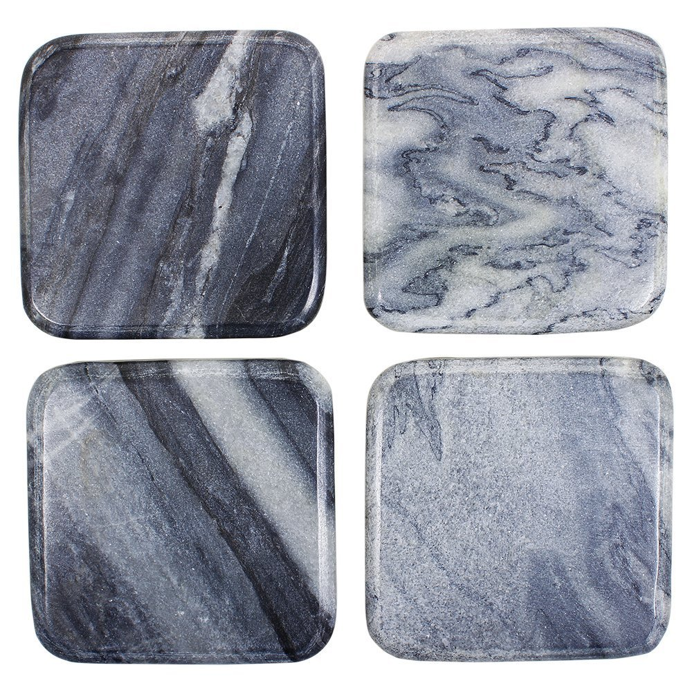 Store Indya Decorative Soapstone Square Wine Glass Bar Coasters for Drinks Hand Carved Set of 4 Home Furniture Kitchen Dining Accessory