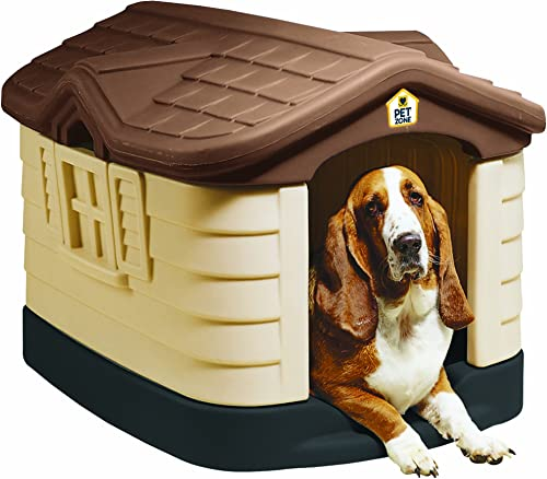 Pet Zone Cozy Cottage Weather-Resistant Dog House. Durable, Double Walled Plastic Dog House Outdoor Dog House, Indoor Dog House, Made in USA