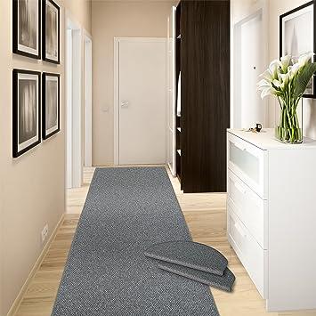 casa pura Teppich Läufer Ponto | für Küche, Flur und Schlafzimmer |  Meterware | Qualität aus Deutschland | in vielen Größen | stahlgrau |  66x100 cm