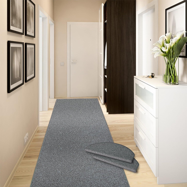 Casa pura Teppich-Läufer Ponto   für Küche, Flur und Schlafzimmer   Meterware   Qualität aus Deutschland   in Vielen Größen   Stahlgrau   100x350 cm