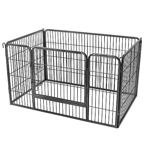 FEANDREA Valla para Perros Valla para Mascotas Plegable, Parque para Mascotas, Jaula para Perros, Paneles de Alambre metálicos, Negro 122 x 80 x 70 cm ...