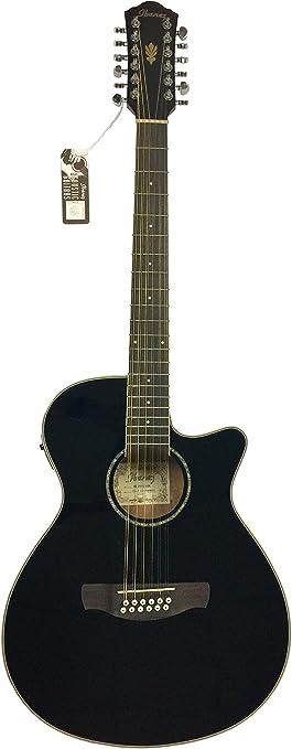 Ibanez acústica de 12 cuerdas guitarra eléctrica aeg1812ii BK ...