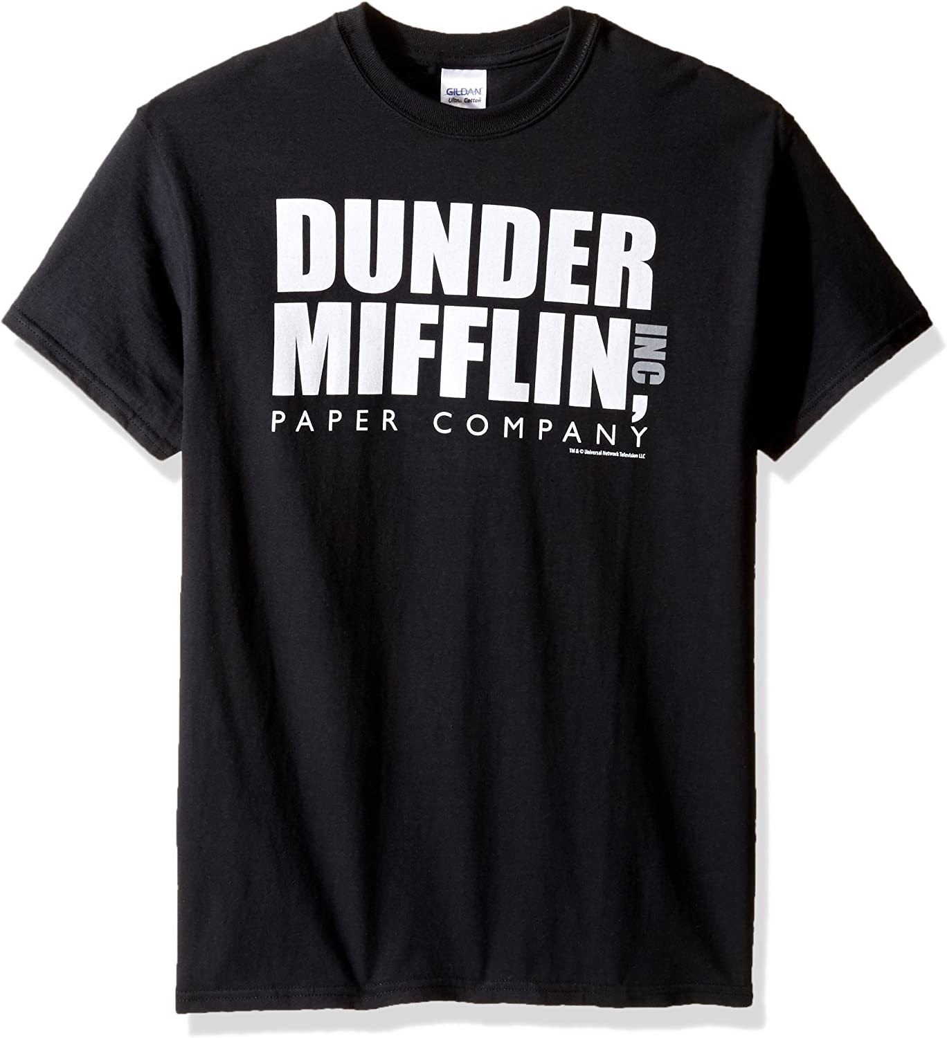 T-Line Men's The Office Tv Series Dunder Mifflin Logo-Black Graphic T-Shirt