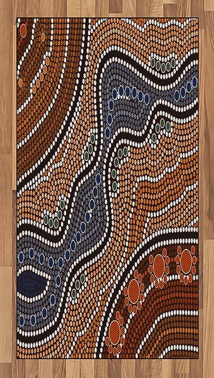 Amazon Com Lunarable Art Area Rug Aboriginal Style Of Dot Painting