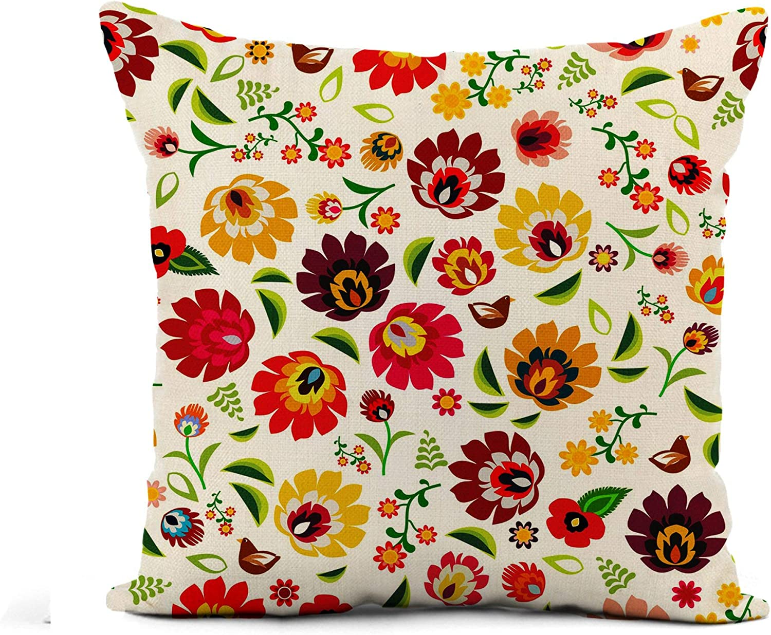 Awowee Flax Throw Pillow Cover Colorful Hungarian Traditional Polish Folk Floral Pattern Green Flower 16x16 Inches Pillowcase Home Decor Square Cotton Linen Pillow Case Cushion Cover