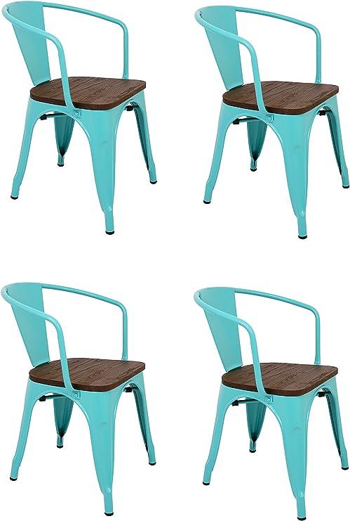 La Silla Española - Pack 4 Sillas estilo Tolix con respaldo, reposabrazos y asiento acabado en madera. Color Turquesa. Medidas 73x53,5x52: Amazon.es: Hogar