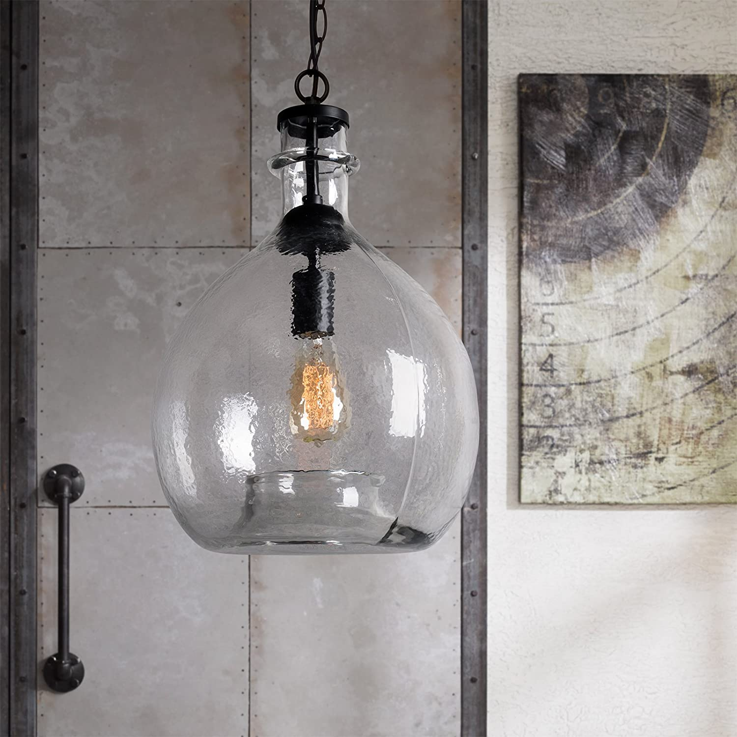 CASAMOTION Wavy Hammered Hand Blown Glass Pendant Light, 1 hanging ...