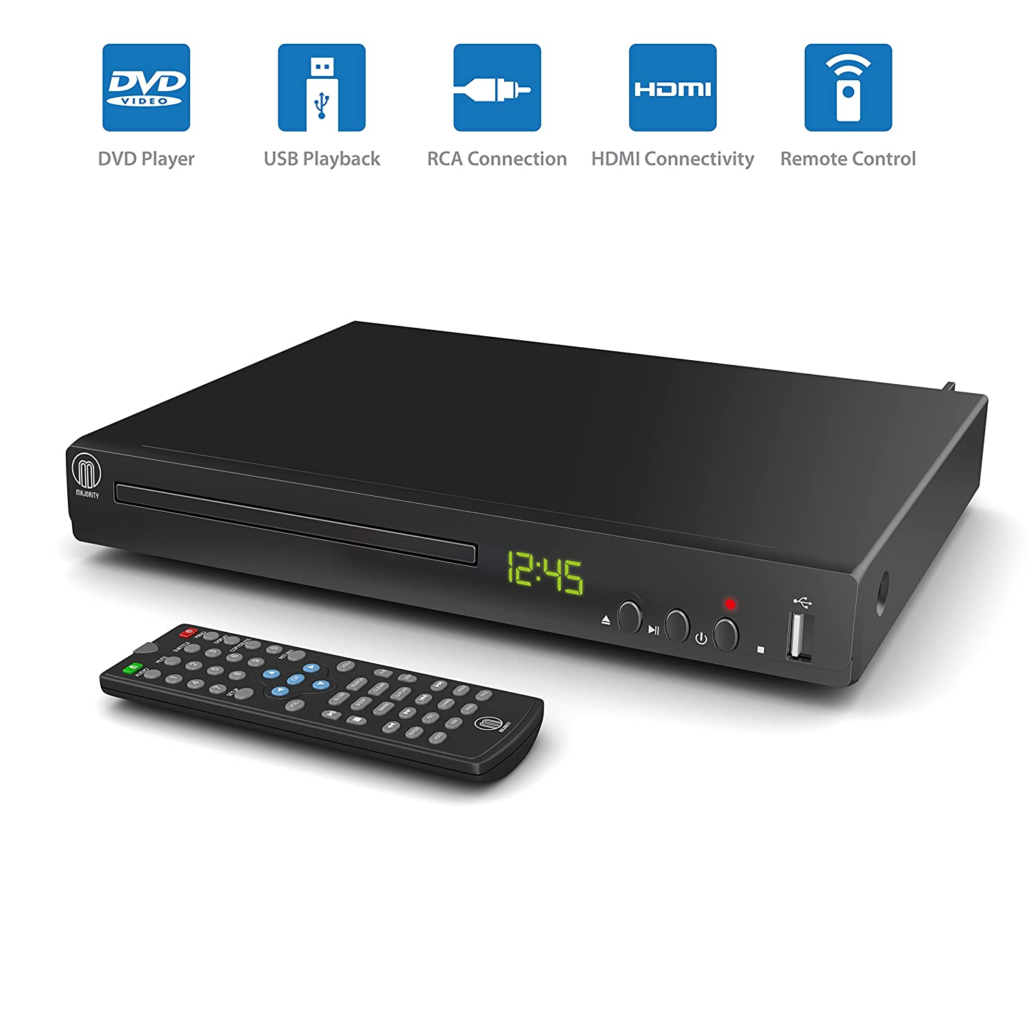 Majority Towers Compact Dvd Player Multi Regions 1 2 3 Amazonco Gabag Spare Part Usb Line Electronics