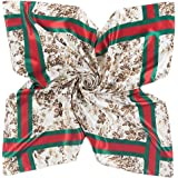 YOUR SMILE Polyester Scarf Women's Fashion Pattern Large Square Satin Headscarf 35''x35''