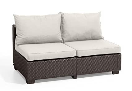Keter Sapporo All Weather Modular Outdoor 2 Seater Patio Sofa Loveseat With  Sunbrella Cushions In