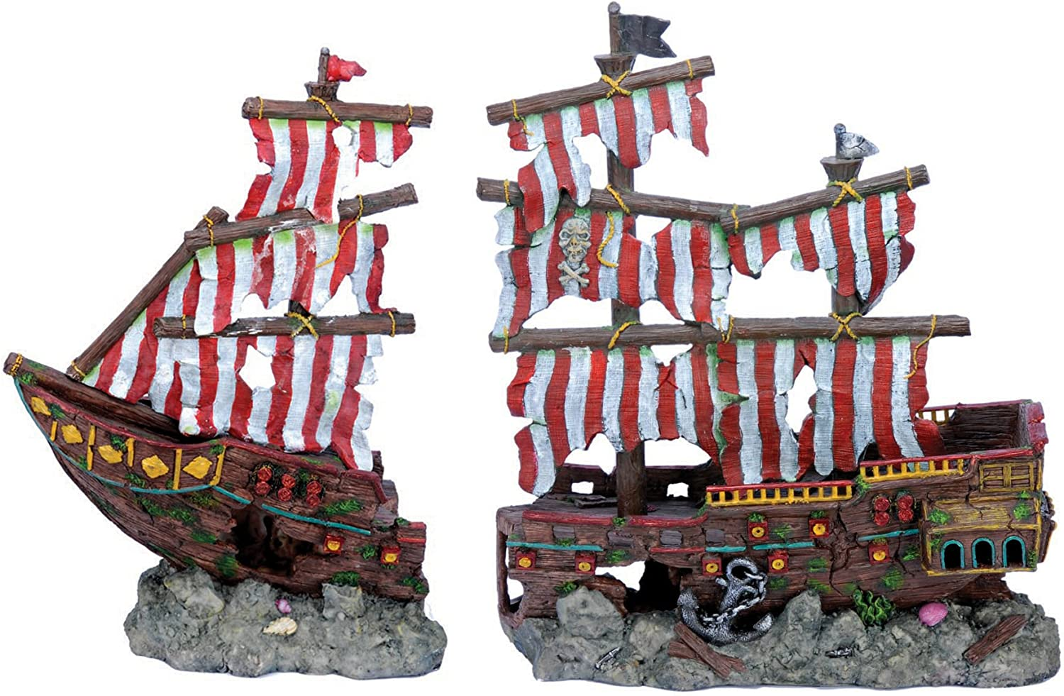 Penn-Plax Striped Pirate Ship